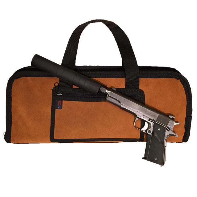 Silencer Pistol Case - Suede Leather