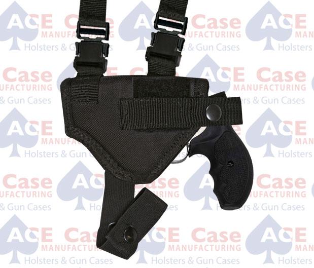 Horiz. Shoulder Holster w Harness & Ammo Pouch (Various Sizes) Nylon
