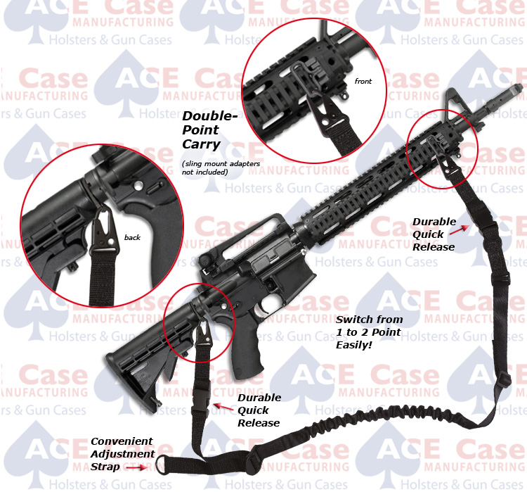 AR Universal 1 or 2 Point Easy-Carry Bungee Sling w Durable Quick Release